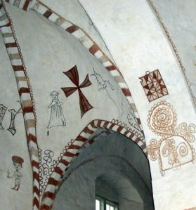 Rakentajamaalaukset Wall Paintings, Maaria Church, Turku, Finland. 1440s-1450s. Figures Include a monk, a devil and a cross.